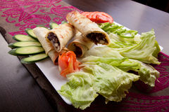 Meat shawarma plate Royalty Free Stock Images