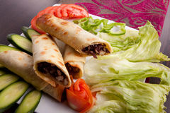 Meat shawarma plate Stock Photos