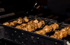 Kebabs on the grill royalty free stock photos