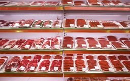 Meat in shop stock images