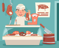 Meat Shop Counter Butcher Seller Retro Vintage Cartoon Character Icon Background Design Vector Illustration. Meat Shop Counter Butcher Seller Retro Vintage Royalty Free Stock Image
