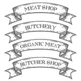 Meat shop market butchery emblem ribbon. Monochrome medieval set vintage engraving. Sign isolated on white background. Sketch vector hand drawn illustration Stock Photo