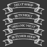 Meat shop market butchery emblem ribbon. Monochrome medieval set vintage engraving. Sign isolated on white background. Sketch vector hand drawn illustration Stock Photography