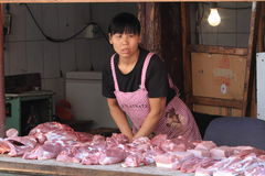 Meat Shop Sales Woman Royalty Free Stock Images