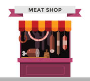 Meat shop stall with meats products Royalty Free Stock Photos
