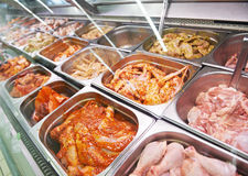Meat showcase in food supermarket Royalty Free Stock Image