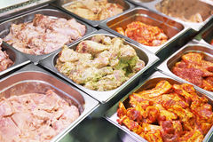 Meat showcase in food supermarket Royalty Free Stock Photography