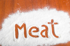 Meat sign, Flour Artwor Stock Photo