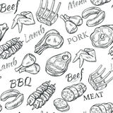 Meat Sketch Seamless Pattern Royalty Free Stock Photography