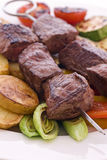 Meat Skewer. As closeup on grilled vegetable stock image