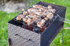 Meat on skewer frying on brazier Stock Photography