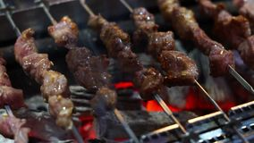 Meat skewer on the grill