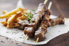 Meat skewer Stock Images