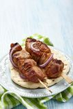 Meat skewer on pita bread Stock Image