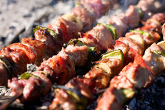Meat skewers Stock Image