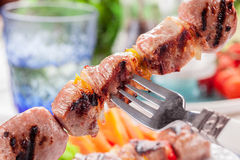 Meat Skewers with Carrots and Salad Royalty Free Stock Photos