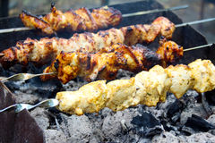 Meat on skewers Stock Photography
