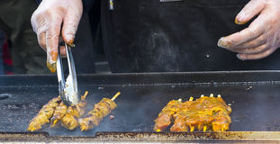 Meat skewers cooking on a grill. Royalty Free Stock Image