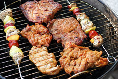 Meat and skewers on the grill. Photo of meat and skewers on the grill - barbecue party Stock Photo