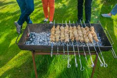 Meat skewers on grill. Cooking outdoor. Barbecue in the garden royalty free stock photo