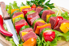 Meat on skewers Royalty Free Stock Photo