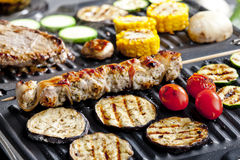 Meat Skewers On Grill Royalty Free Stock Photography