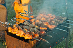 Meat on skewers Royalty Free Stock Photos