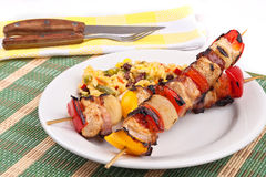 Meat skewers with rice Stock Image