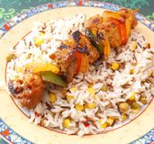 Meat skewers with rice Stock Photo