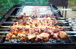 Meat on skewers Royalty Free Stock Photography
