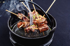 Meat on skewers smoks in a brazier Royalty Free Stock Photography