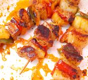 Meat skewers Stock Images