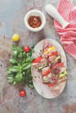 Meat skewers with vegetables Royalty Free Stock Photo