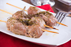 Meat skewers on white dish. Stock Images