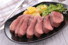 Meat sliced and vegetables Royalty Free Stock Photography