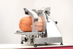 Meat slicer mortadella Royalty Free Stock Photos