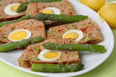 Meat slices with egg. On plate Stock Photos