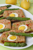 Meat slices with egg. On plate Royalty Free Stock Photos