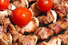 Meat slices prepare on fire Royalty Free Stock Photos