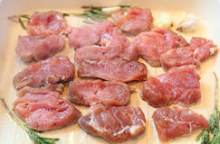 Meat slices roasted on giddle Royalty Free Stock Images