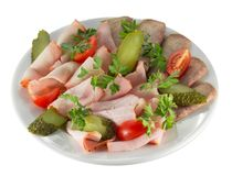 Meat slices with vegetables. Close up of meat slices with vegetables Stock Photos