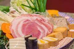 meat and slide pork on dish for sukiyaki Stock Photo