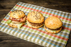 Meat sliders served on napkin Stock Photo