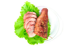 Meat smoked bacon with lettuce Stock Photos