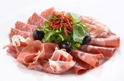 Meat snack. With prosciutto, salami and bacon Royalty Free Stock Photography