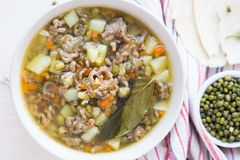 Meat soup with beef, mung green beans, legumes, hot Indian Stock Photography