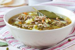 Meat soup with beef, mung green beans, legumes, hot Indian Stock Images