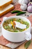 Meat soup with pickled cucumbers and  pearl barley Royalty Free Stock Images