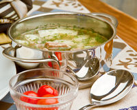 Meat soup with pickles Royalty Free Stock Images