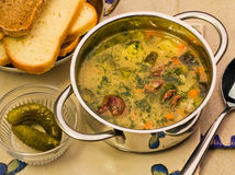 Meat soup with potato in a pan Royalty Free Stock Photography